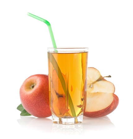 apple and orange: apple juice in glass isolated on white background