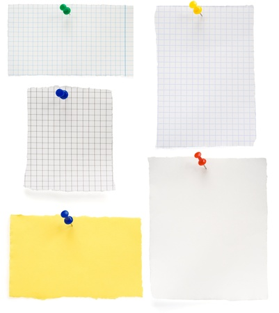 pushpin and  checked note paper isolated on white background Stock Photo - 16657759