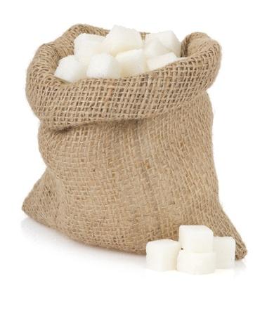 burlap bag: sugar cubes isolated  on white background