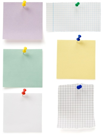 note paper and tack  isolated on white background Stock Photo - 17602795