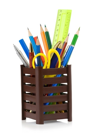 holder basket and office supplies isolated on white background Stock Photo - 17602711