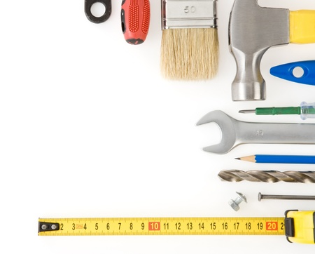 kit of construction tools and instruments isolated on white background photo