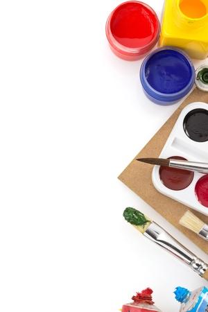brush and paint  isolated on white background photo