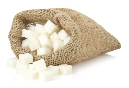 sugar cubes: sugar cubes in bag sack isolated on white background