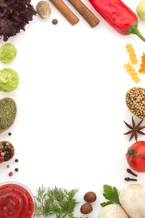 food ingredients and spices isolated on white background photo