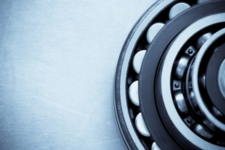 bearings at metal  background