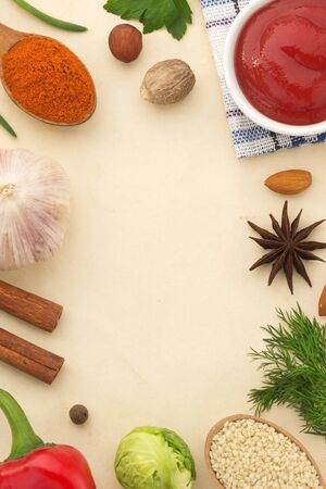 spices background and healthy food photo