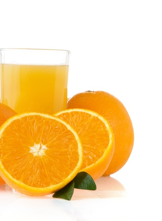 orange juice in glass isolated on white background photo