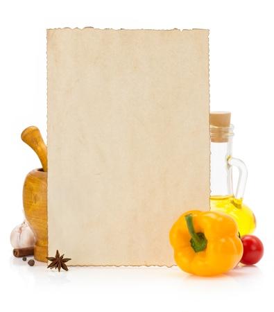 tiendas de comida: ingredientes y especias con fondo envejecido Foto de archivo