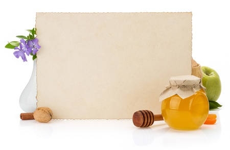 a jar stand: cooking recipes note paper and food on white background