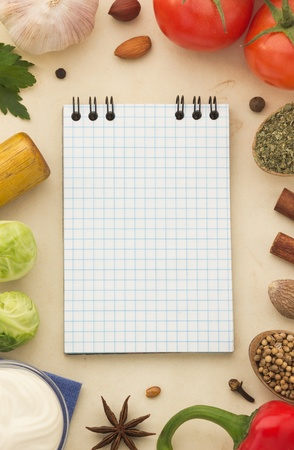 recipe book: spices background and healthy food