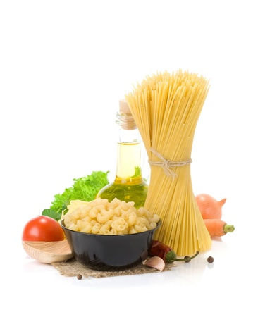 raw pasta and food vegetable isolated at white background photo
