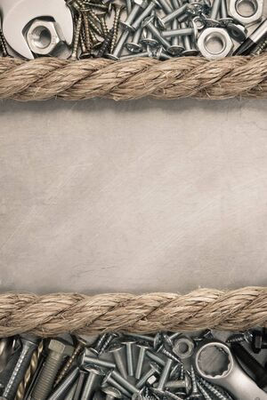 metal construction  hardware tool and rope Stock Photo - 21021654