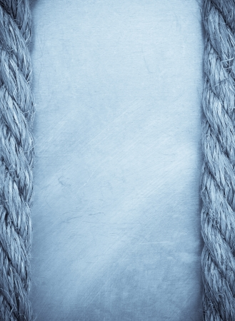 ship rope on metal texture background photo