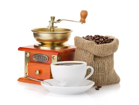 cup of coffee and beans isolated on white background photo