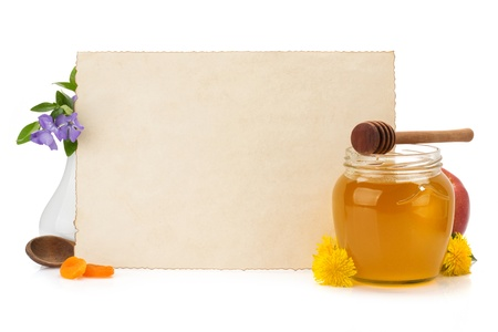 a jar stand: cooking recipes note paper and spices on white background Stock Photo