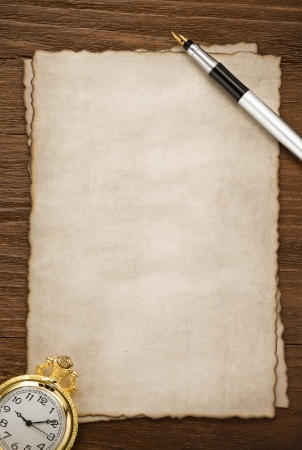 ink pen on parchment background texture photo