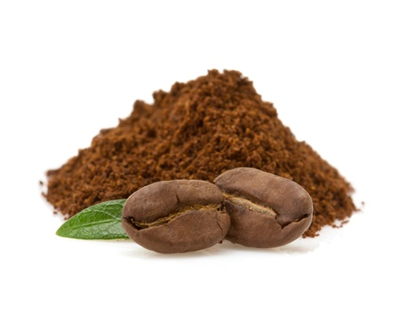 coffee grounds: coffee beans isolated on white background