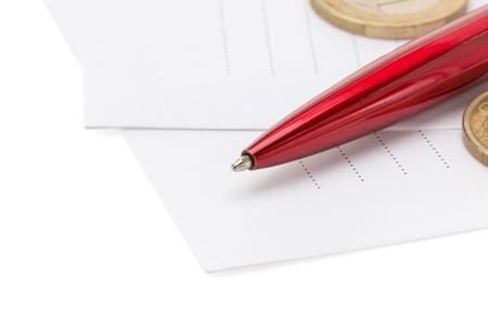 pen at envelope isolated on white background photo