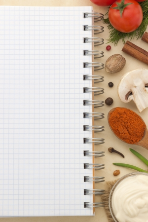 food ingredients and recipe book on aged background Stock Photo