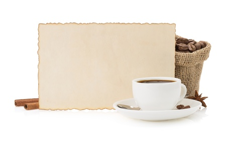 cup of coffee isolated on white background photo