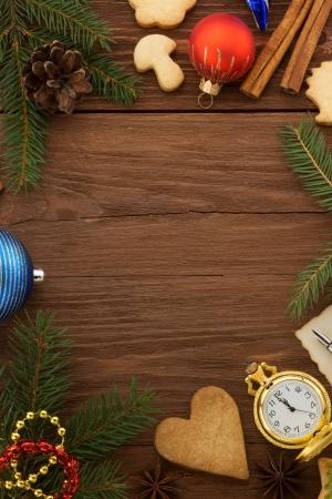 christmas decoration on wood background Stock Photo - 22512860