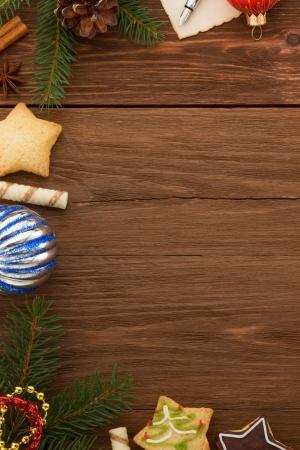 christmas decoration on wood background photo