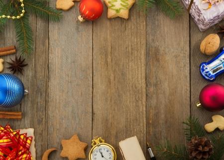 christmas decoration on wood background Stock Photo - 22512865