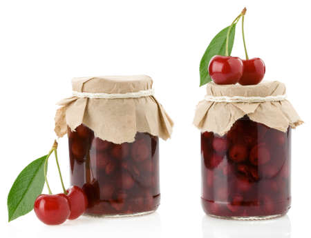 cherry jam isolated on white  photo