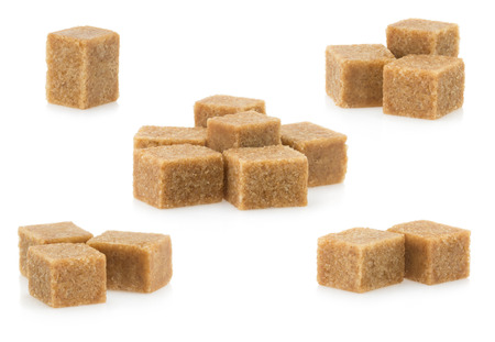brown sugar: brown sugar cubes isolated on white background