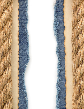 ship ropes on jeans background texture photo