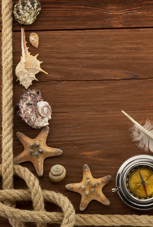 sea concept on wood background photo