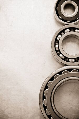 bearings at metal  background texture photo