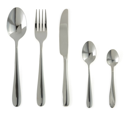 plate, knife and fork  isolated on white background photo