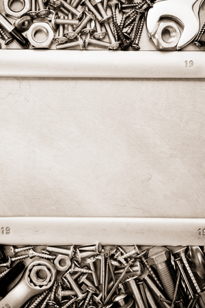 metal construction  hardware tool on metal texture photo