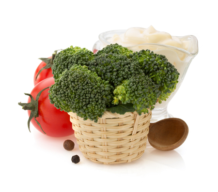 broccoli and vegetable isolated on white background photo