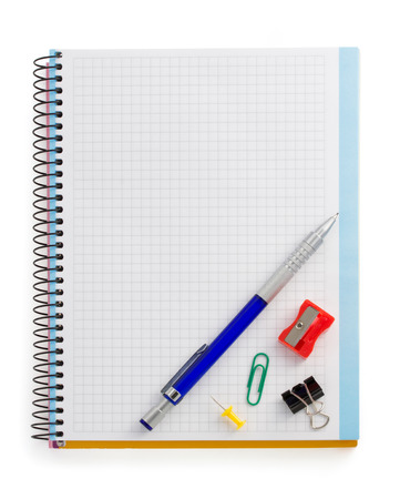 notebook and office accessories isolated on white background photo