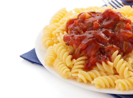 pasta and  tomato sauce isolated on white background photo