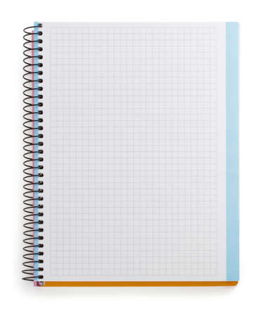 school table: checked notebook isolated on white background