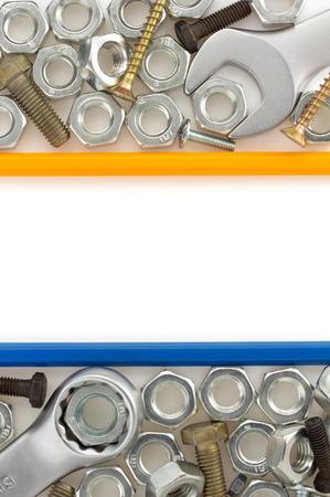metal construction hardware tool on white background photo