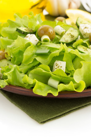 salad in plate isolated on white background photo