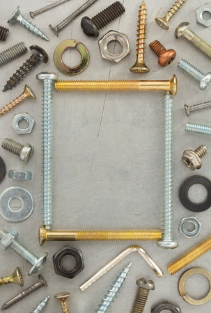 hardware tools at metal background texture photo