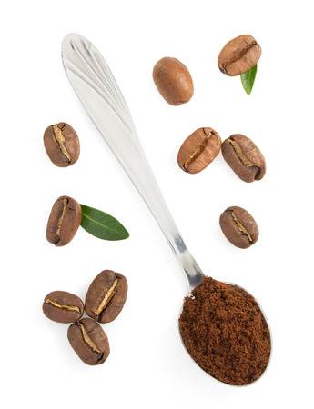 coffee grounds: coffee grounds and beans isolated on white background
