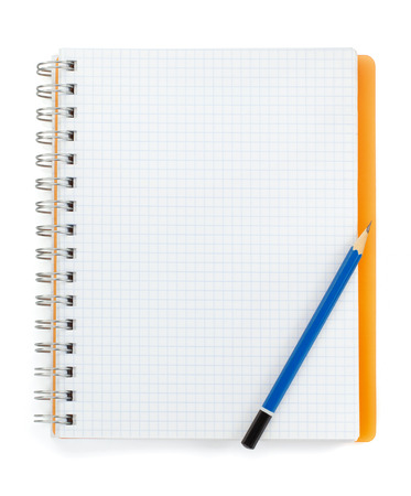 checked notebook isolated on white background photo