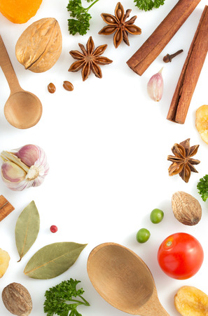 herbs and spices isolated on white background photo