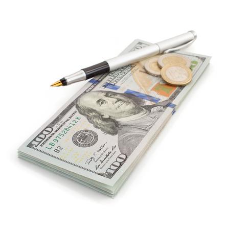 dollars money banknotes isolated on white background photo