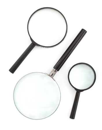 magnifying glass isolated on white background photo