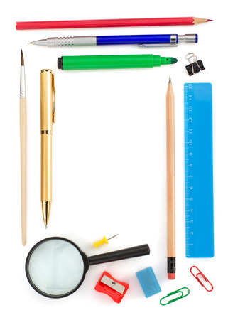 office supplies isolated on white background photo
