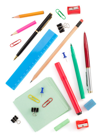 school supplies isolated on white background photo