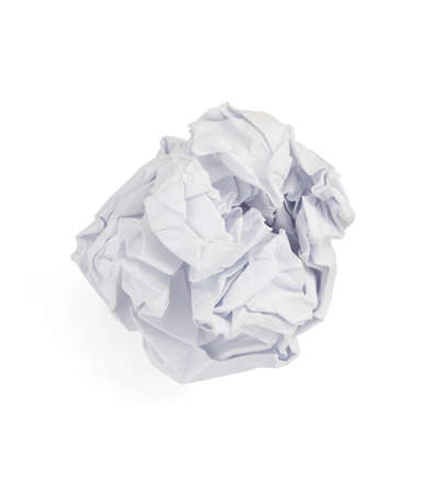 crumpled paper ball isolated on white background photo